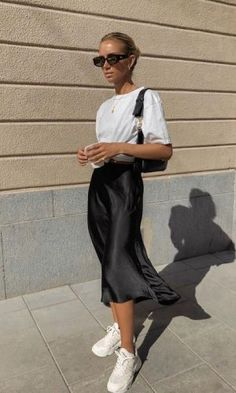 jupe midi spring look casual trends mode fashion
